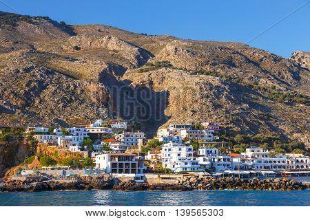 Small Town Chora Sfakion, South Of Crete, Greece