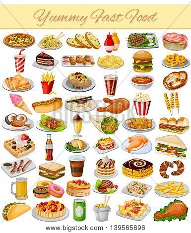 vector illustration of Yummy Fast Food Collection