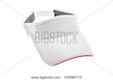 Adult white golf visor on white background