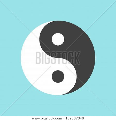 Yin and yang symbol on blue background. Harmony and balance concept. Flat design. Vector illustration. EPS 8 no transparency