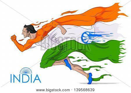 illustration of man running in tricolor Indian flag