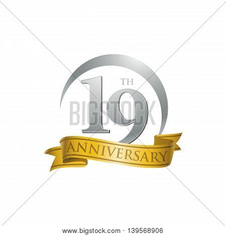 19th anniversary gold logo template. Creative design. Business success