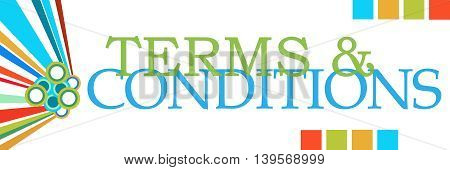 Terms and conditions text written over colorful background.