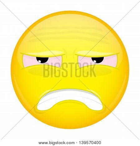 Tired emoji. Hurt emotion. Sick emoticon. Vector illustration smile icon.