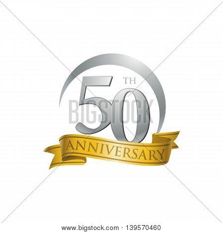 50th anniversary gold logo template. Creative design. Business success