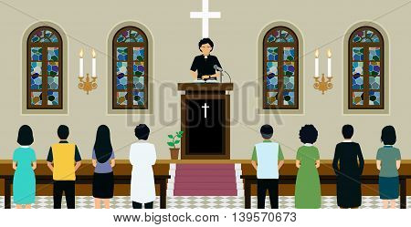 Pastor was preaching in church listening to the public.