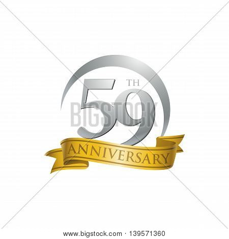 59th anniversary gold logo template. Creative design. Business success