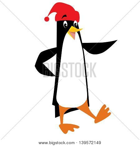 Children vector illustration of funny penguin in beanie or cap with pompom or bobble, showing by wing
