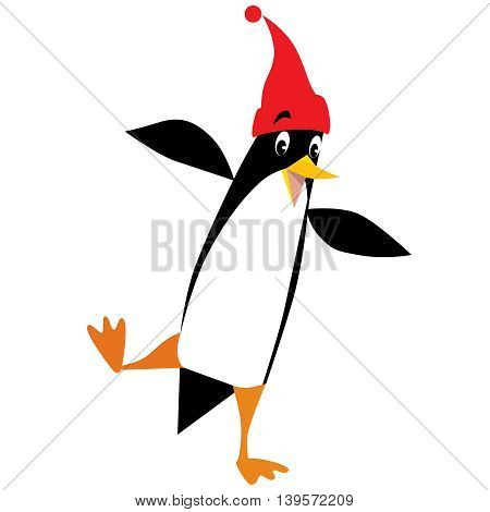 Children vector illustration of funny penguin in beanie or cap with pompom or bobble, standing on one leg