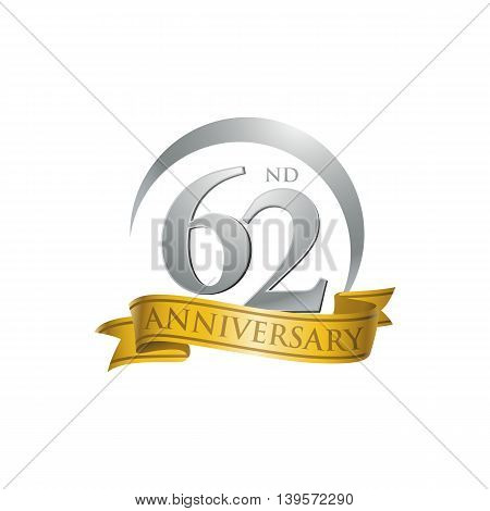 62nd anniversary gold logo template. Creative design. Business success