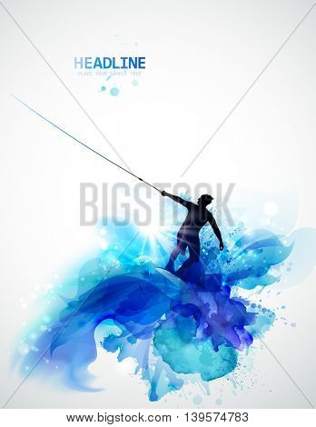 Abstract image of movement, speed and water. Black silhouette of wakeboarder on the abstract watercolor blots background.