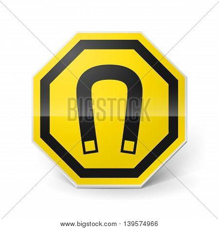 Shiny metal warning sign of magnetic field on white background