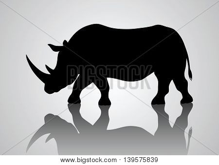 Simple silhouette illustration of a rhinoceros, animal silhouette series