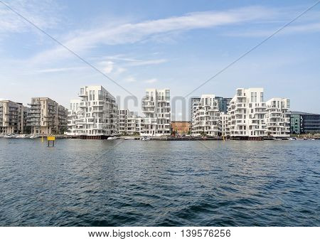 waterside scenery in Copenhagen the capital city of Denmark