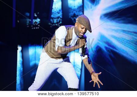 VITEBSK, BELARUS - JULY 17: French singer Willy William performs during the 25th Slavyansky Bazar Festival on July 17, 2016 in Vitebsk, Belarus