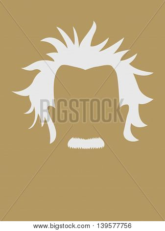 Man's hair and mustache symbol, famous people avatar series