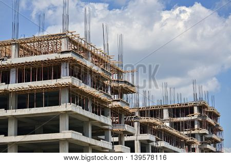 Contemporary architecture and residential skyscraper under construction