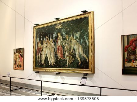 FLORENCE, ITALY - January 20, 2016: a hall with paintings by Sandro Botticelli, on display at the Uffizi Gallery (Galleria degli Uffizi), Florence, Italy