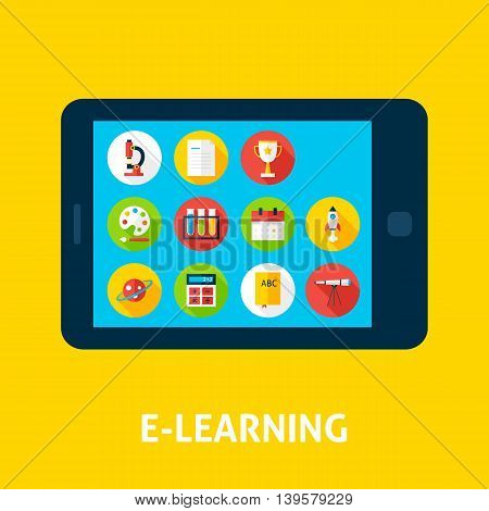 Electronic Learning Tablet Concept. Flat Design Vector Illustration of Online Education Concept.