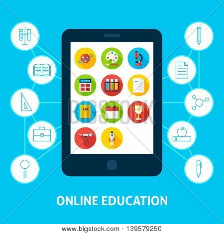 Online Education Tablet. Flat Design Vector Illustration of Electronic Learning Concept.