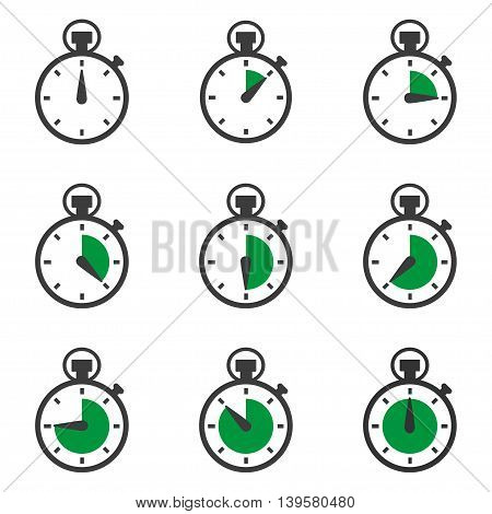 Set of stopwatches icons. Timer symbol. Vector illustration