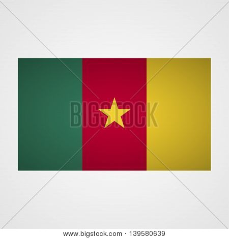Cameroon flag on a gray background. Vector illustration