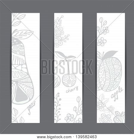 stock vector template for brochure card cover book invitation with apple cherry pear.