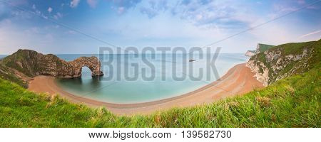 Panorama of Durdle Door on the Jurassic Coast of Dorset, UK