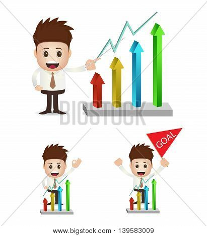 collection set of character businessman with uptrend chart