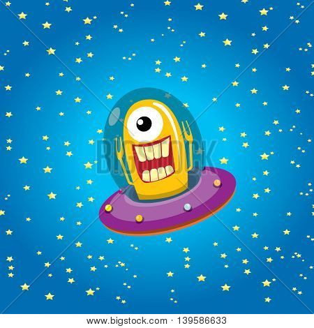 alien spaceship . ufo. orange alien in space vector. flying saucer. Kids vector background