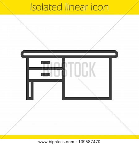 Desk linear icon. Thin line illustration. Writing desk contour symbol. Vector isolated outline drawing