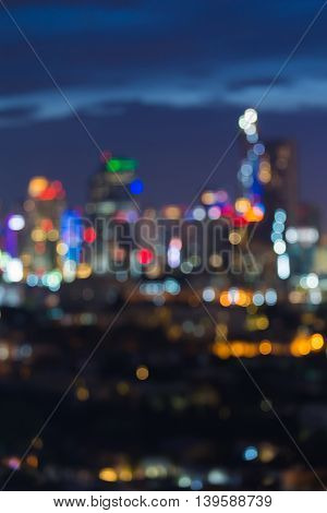 Abstract blurred bokeh lights city lights downtown background