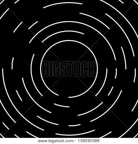 Circular, Circling, Spiral Lines. Irregular Asymmetric Monochrome Pattern, Element