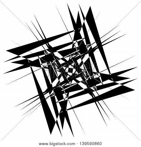 Edgy Geometric Element, Random Shape. Abstract Monochrome Illustration.