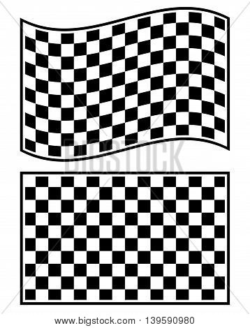 Checkered Racing Flag Elements Isolated On White.