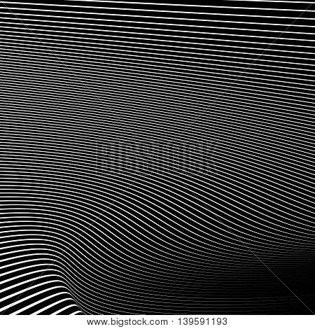 Simple Dynamic Lines Pattern. Geometric Pattern. Monochrome Abstract Background.