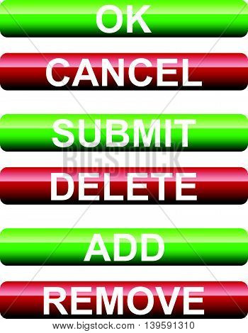 Set Of Submission Buttons. Ok, Cancel, Submit, Delete, Add, Remove Buttons.