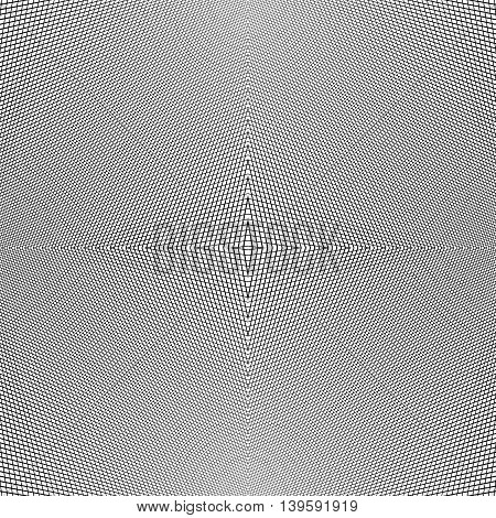 Grid Of Dynamic Lines. Seamlessly Repeatable Mesh Pattern. Distorted, Warped Cellular, Reticulated B
