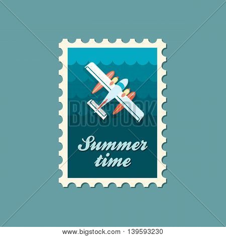 Hydroplane vector stamp. Travel. Summer. Summertime. Holiday. Vacation eps 10