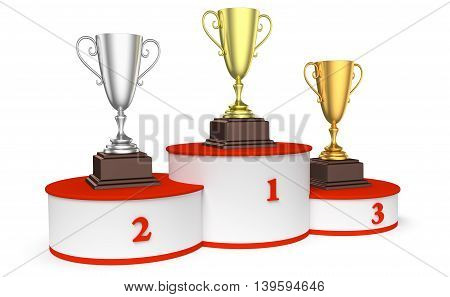 Sports winning and championship and competition success concept - golden silver and bronze winners trophy cups on sports pedestal white winners podium with red stairs 3d illustration diagonal