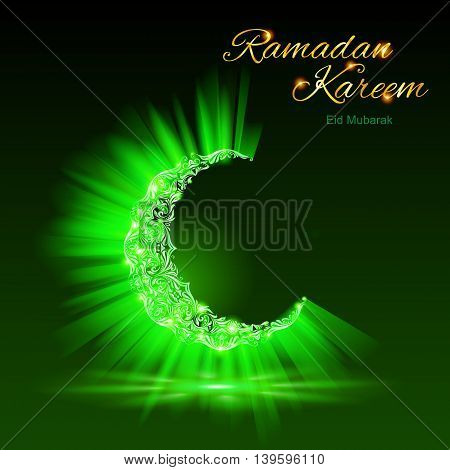 Glowing ornate crescent with bright flare and radiance in brilliant green shades. Greeting card of holy Muslim month Ramadan