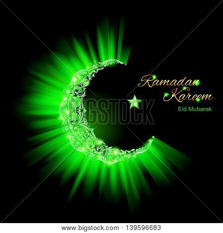 Glowing ornate Crescent Moon and a star in bright green. Greeting card of holy Muslim month Ramadan