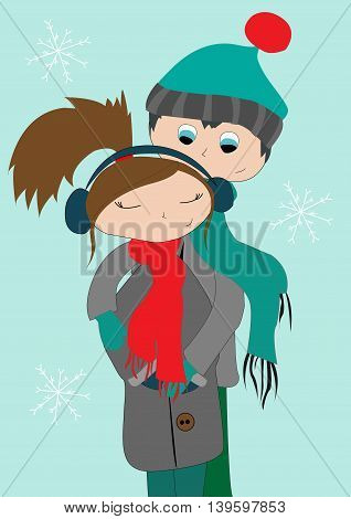 Young teens hugging in cold winter on a turquoise background with white snowflakes