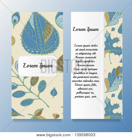 Stock vector template with leaf patternoriental design for card banner cover layout.