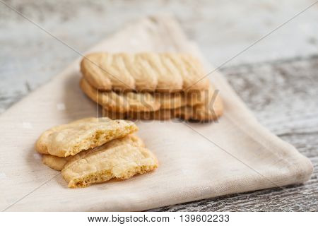 Shortbread Decorative Shapes On An Old Wooden Table