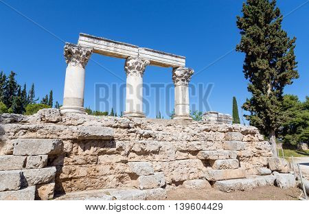 Temple E ruins in Ancient Corinth, Greece