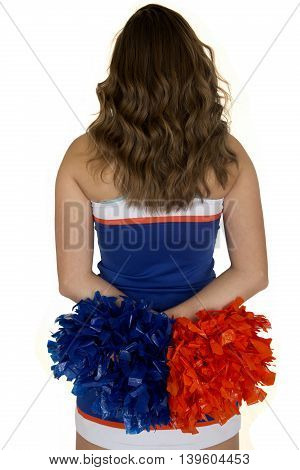 Teen Cheerleader Standing Back Side View With A White Background