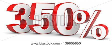 Discount 350 percent on white background. 3D illustration.