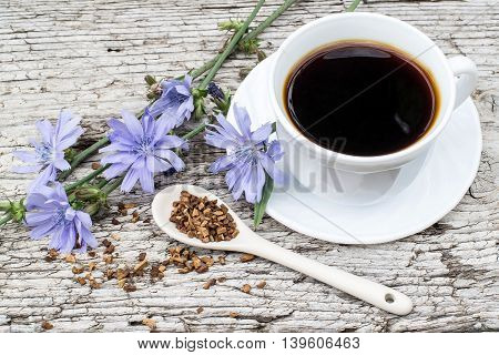 Medicinal plant chicory: flowers and ground roots in the spoon. The roots of the plants are used as a substitute for coffee. Drink from chicory in a cup on the old wooden background