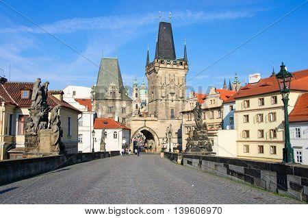 Tourists On Charles Bridge, Prague, Czech Republic.